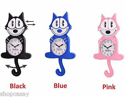 Licensed Felix The Cat Novelty Motion Wall Clock Black Blue Pink