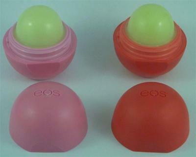 "2 x GENUINE EOS Smooth Sphere 7g Lip Balms - Strawberry & Fruit ""NO PACKET"""
