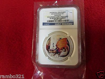 2014 Tuvalu $1 Mythical Creatures - Dragon Bullion .999 Silver Coin - Ngc Pf69