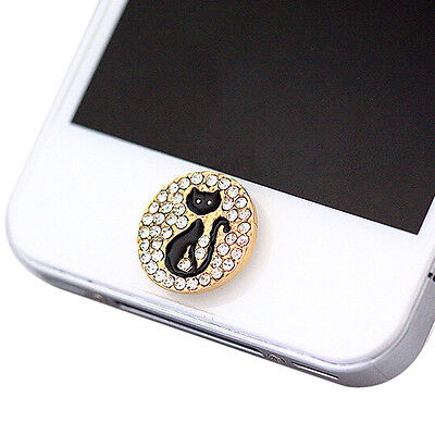 Home Button Sticker - Black Cat with Bling Rhinestone for iPhone iPad SY