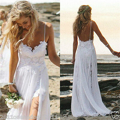 Sexy Beach Bride Evening Party Prom Wedding Dresses Backless Lace :6-16