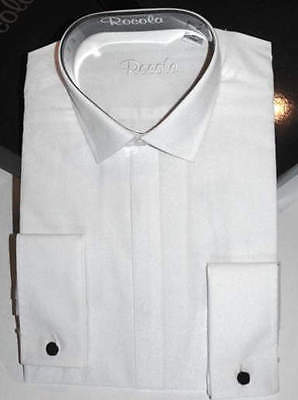 Rocola Mens Dress Formal Evening Shirt Black White Wing and Standard Collar