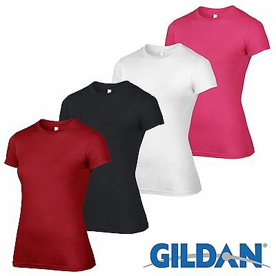 4 Pack Gildan WOMENS Tshirt Plain Cotton T Shirt Workwear Ladies Wholesale Girls
