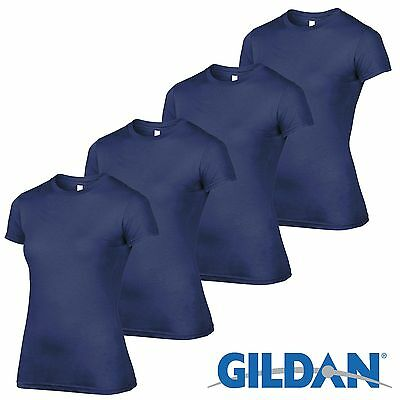 4 Pack Gildan NAVY Tshirt Plain Cotton Girls T Shirt Ladies Workwear Wholesale