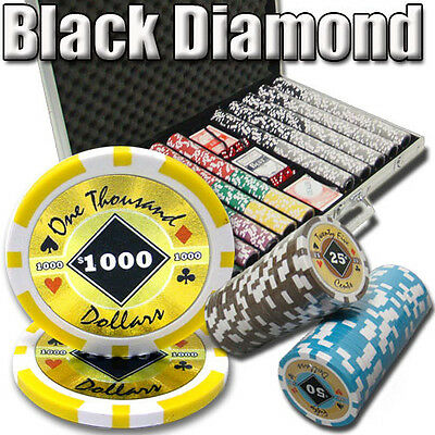 NEW 1000 Black Diamond 14 Gram Clay Poker Chips Set Aluminum Case Pick Chips