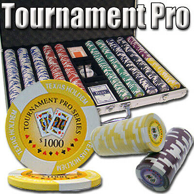NEW 1000 Tournament Pro 11.5 Gram Clay Poker Chips Set Aluminum Case Pick Chips