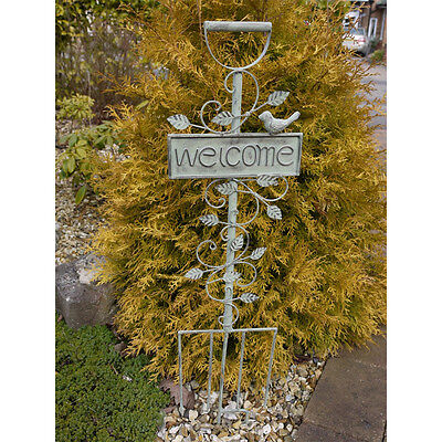 86cm Vintage WELCOME Metal Garden Stake Fork Ornament Sign Distressed Look NEW