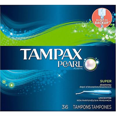 Tampax Pearl Plastic Super Absorbency Tampons, Unscented, 36 Count