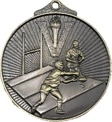Rugby 3D 52mm Gold Medal Engraved / Ribbon FREE