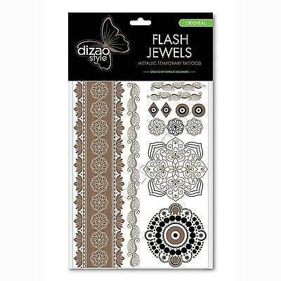 Natural Temporary Tattoos Dizao Style Flash Jewels Gold Metallic Oriental