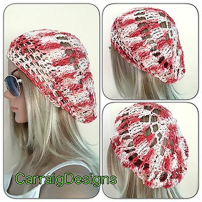 d2469457c41 HANDMADE Cotton Womens Slouch Beanie hat beret crochet knit dread Spring  Summer