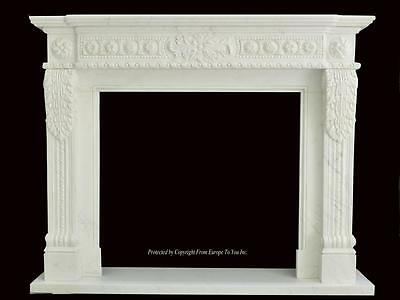 Beautiful Hand Carved Marble European Design Marble Figural Fireplace Mantel Z7