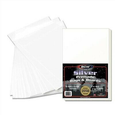 Pack of 50 BCW Premade Silver Age Comic Book Poly Bags + Acid Free Backer Boards