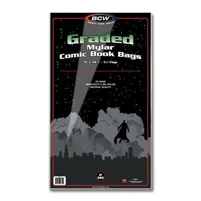 Pack of 25 BCW CGC Graded Comic Book Slab 2 Mil Clear Mylar Bags CBCS slabbed