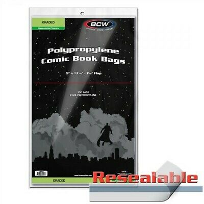 Pack / 100 BCW Resealable Graded Comic Book Slab 2 Mil Clear Acid Free Poly Bags