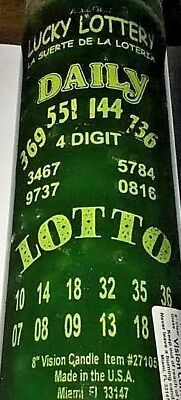 7 DAY GLASS CANDLE LUCKY LOTTERY - GREEN. Daily Lotto   - Glass Screen Print