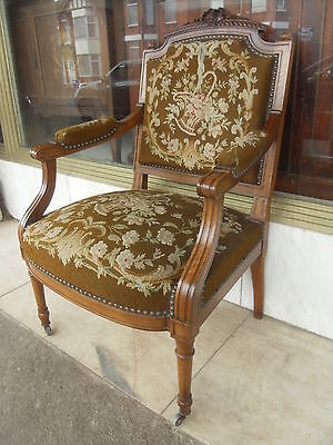 Antique French Carved Walnut Upholstered Armchair / Antique Walnut Chair