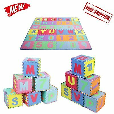36Sq Ft Alphabet and Number Floor Mat Foam Puzzle Play Kids Educational Soft New