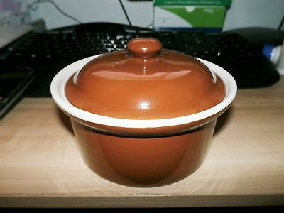 """Vintage 6"""" Shenango Small Brown Casserole Baker with Lid #66"""