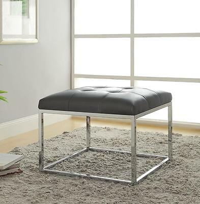 Charcoal Tufted Leatherette Square Ottoman with Chrome Base by Coaster 500226