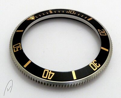 Black gold stainless steel bezel with aluminum insert for Vostok diver watches