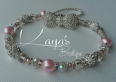 *Diamanté Bow* Bling Romany Silver & Pink Shamballa Dummy Clip - Any Name