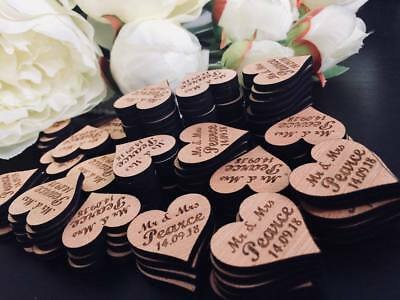 Personalised vintage wooden hearts/ table confetti / wedding table decorations