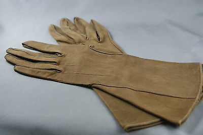Vintage 1940s 50s Leather Driving Gloves Brown Suede Size 6 1/4