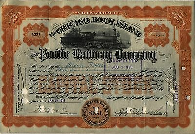 1915 Chicago Rock Island & Pacific Railway Stock Certificate Railroad