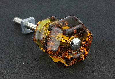"Antique Honey Amber ~ Glass Knob ~ Drawer Pull Handle { 1 1/4"" Dia. } by PLD"