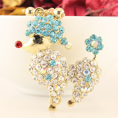 Pink Poodle Dog Puppy Cute Animal Keychain Rhinestone Crystal Charm Gift E8