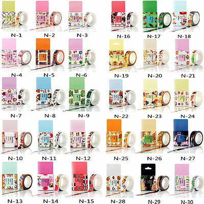 1.5cm*10m DIY Sticky Adhesive Sticker Decorative Scrapbooking Washi Tape + Box