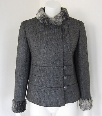 Vintage 1960's Gray Wool Jacket With Curly Lamb Trim Fur