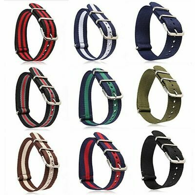 Sport Military Army Fabric Woven Buckle Nylon Wrist Watch Band Strap 18/20/22mm