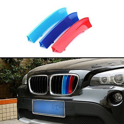 3x ABS Front Grille Cover Trim Buckle Strips 3 Colors For BMW X1 E84 2010-2015