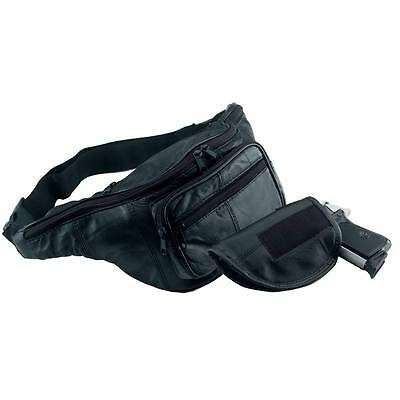 Leather Hand Gun Pistol Holder Waist Fanny Pack CCW Concealed Holster Belt Bag