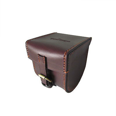 Tourbon Fly Fishing Reel Case Pouch Cover Carrier Brass Storage Genuine Leather
