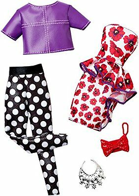 Mattel Barbie - Fashion - Pack - Floral Dress & Purple Blouse Dot Trousers 2Pack