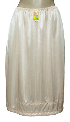"Women Half Slip 25"" Length White Beige Black 2 Side Open Slits S M L XL 2X 3X"