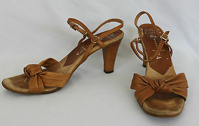 Vintage Famolare Sole There Leather Sandal Heels Ankle Strap 70s Hippy Boho 8.5