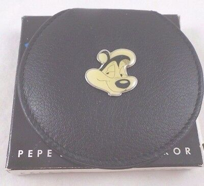wb Pepe Le Pew Leather Mirror NIB Warner Brothers Store Looney Tunes Bros