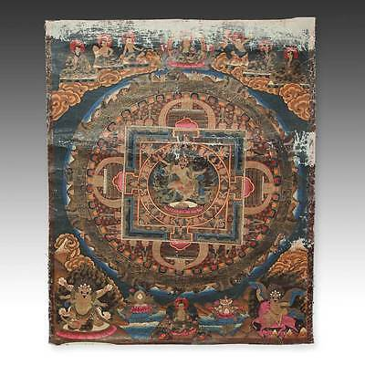 Rare Antique Thangka Painting Cloth Mandala Dharma Tibet Buddhism 19Th C.