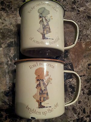 Lot Of 2 Vintage Holly Hobbie Tin Enamelware Child's Cups -1978