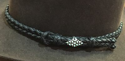 Handmade Black Usa Braided Deerskin Leather Western Hatband Sterling Turquoise