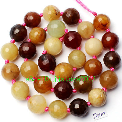 """12Mm Natural Faceted Mixed Jade Round Shape Gemstone Loose Beads Strand 15"""""""