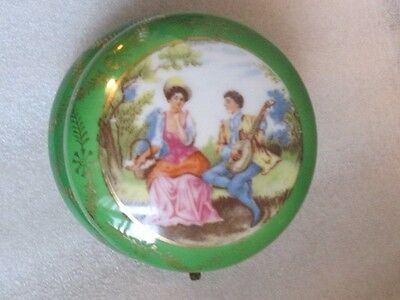 Vintage Japan Porcelain Green Hinged Jewelry Powder Jar Box Romantic Lady & Gent