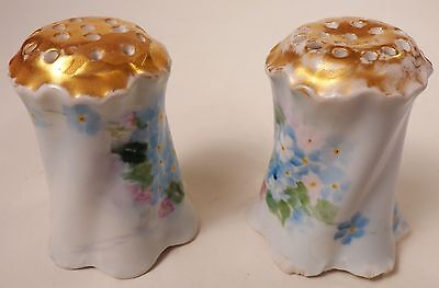 Rosenthal Versailles Gold Top Salt and Pepper Shakers Bavaria Blue Flowers