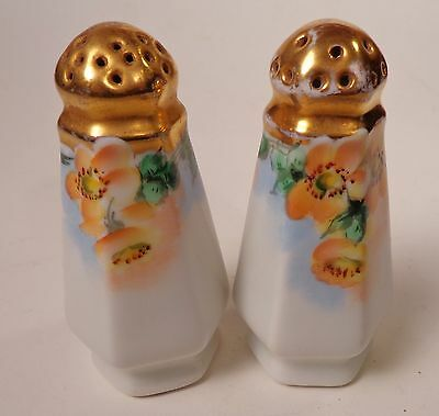 Gold Top Salt and Pepper Shakers Orange Flowers Hand Painted
