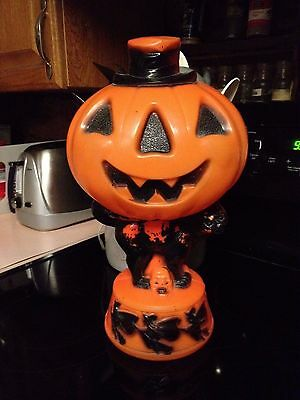 Vintage Empire Halloween Blow Mold Pumpkin on Black Cat With Light