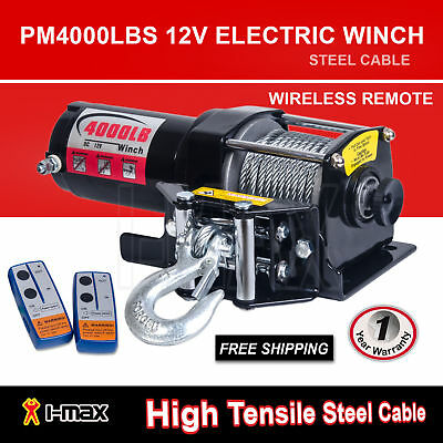 I-Max 12V Wireless 4000LBS/1800KGS Electric Cable Winch ATV 4WD 4x4 Boat Truck